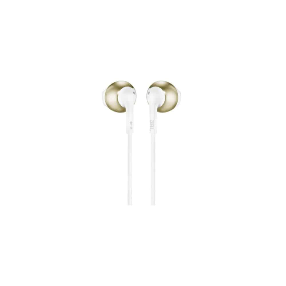 אוזניות כפתור JBL T205 זהב